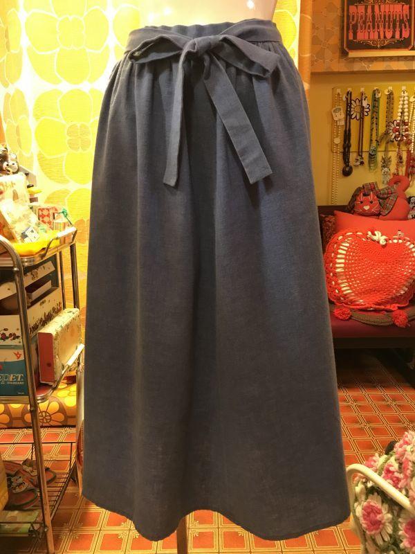 画像1: ライトデニム ラップスカート